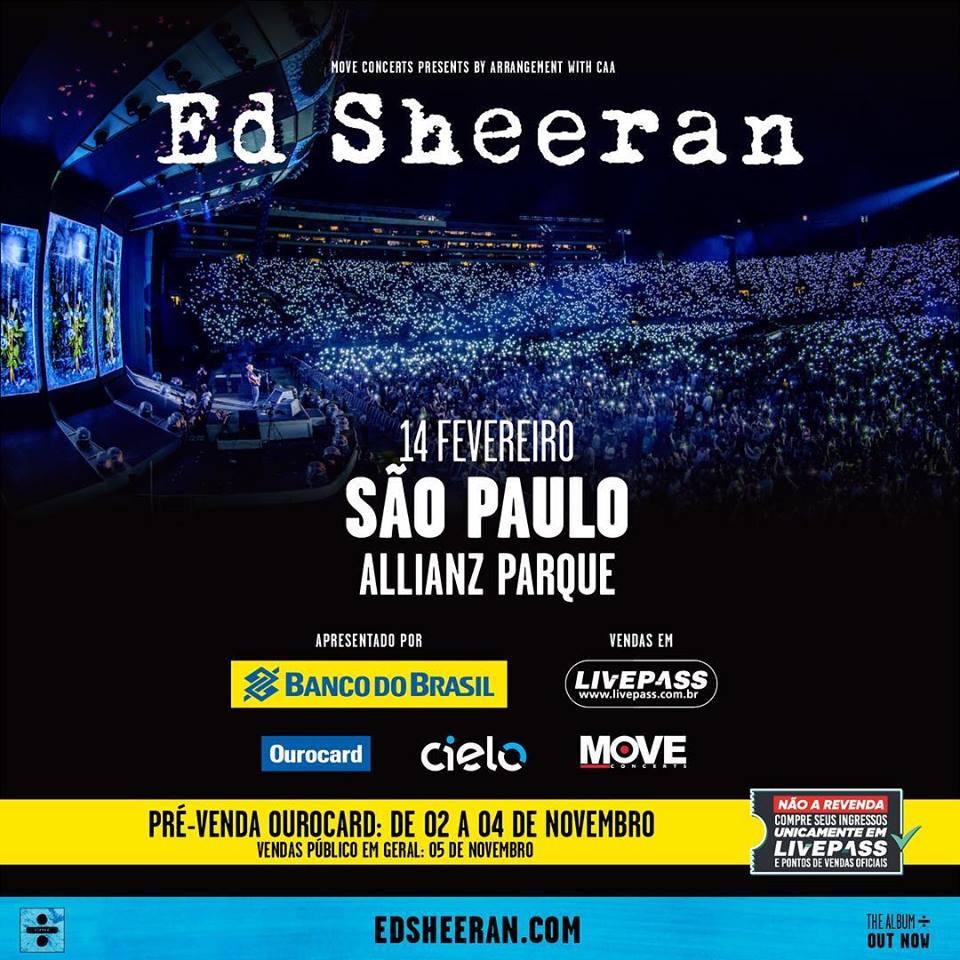 ed sheeran cantor volta ao brasil com a divide world tour em fevereiro de 2019 tramamos. Black Bedroom Furniture Sets. Home Design Ideas